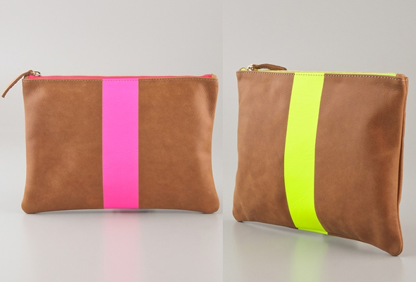 Clare Vivier Neon Stripe Flat Clutch in brown with a neon pink or yellow stripe