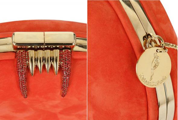 Maison Du Posh Bite Me suede & Swarovski clutch - closeup