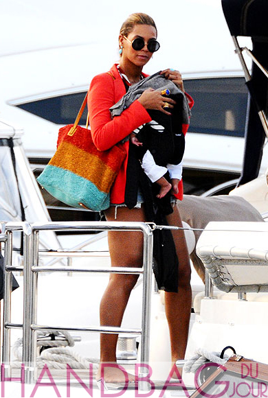 Beyonce with Olivia Harris by Joy Gryson Colombier Striped Knit Simple Tote and Blue Ivy