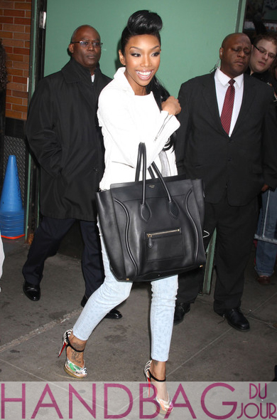 Brandy leaving GMA in Current Elliott The Stiletto Pastel Leopard Jeans, Celine Black Leather Luggage Tote, Christian Louboutin No. 299 Trash pumps
