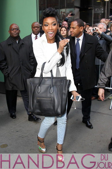 Celeb handbag spotting: Brandy leaving GMA with Celine Black ...