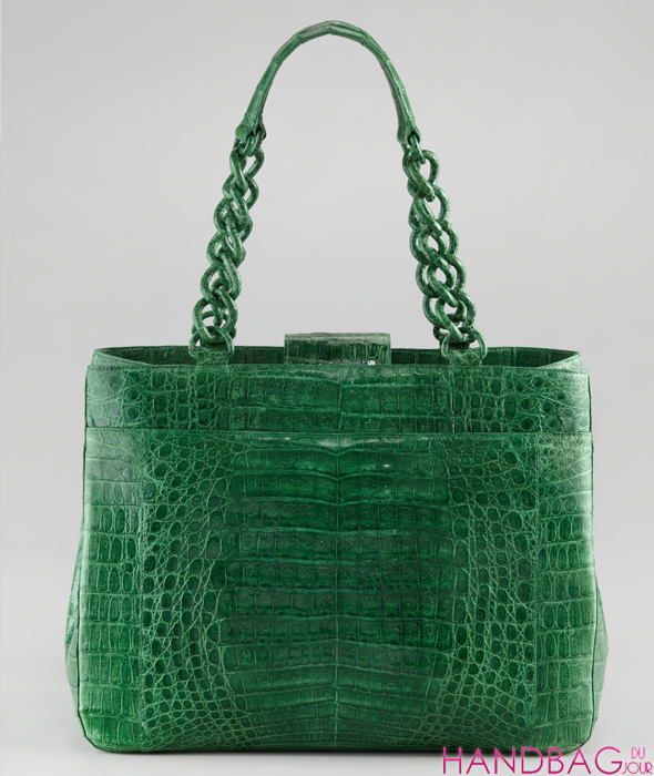 Nancy Gonzalez Limited Edition Chain Collection at Bergdorf Goodman - green crocodile shoulder bag