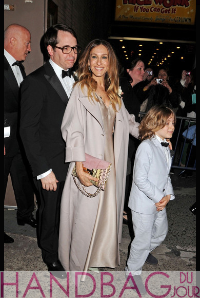 Sarah Jessica Parker with son James Wilkie and husband Matthew Broderick leaving the Imperial Theatre for the opening night of 'Nice Work If You Can Get It'
