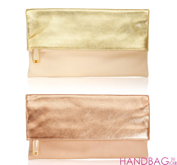 Fendi Resort 2012 Metallic Latte and Rosa Envelope Clutches