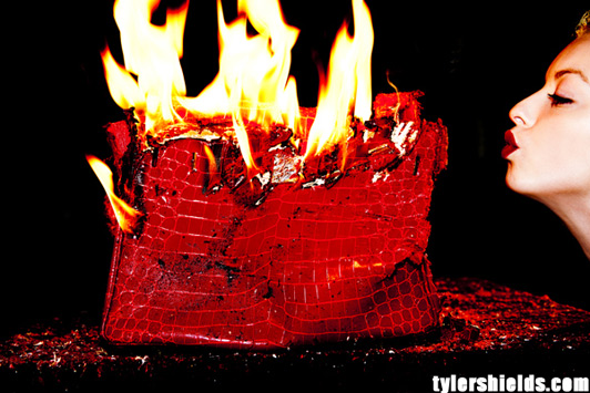 Francesca Eastwood sets fire to the 100,000 red crocodile Birkin