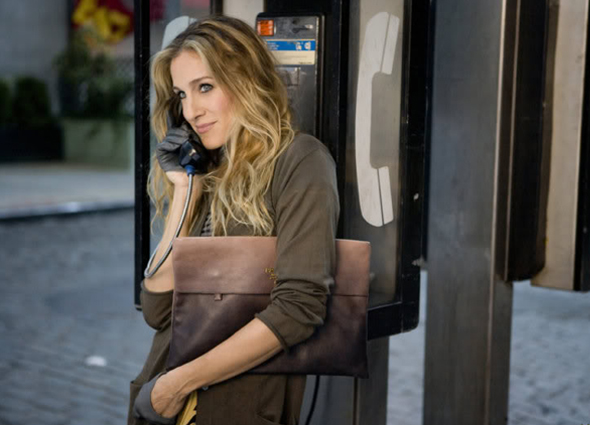 Sarah Jessica Parker with Prada Glace (Glazed calf) Folder Clutch on Sex and the City