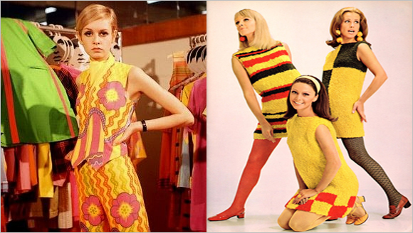 Twiggy, Mod fashion, geometric prints and colorblock