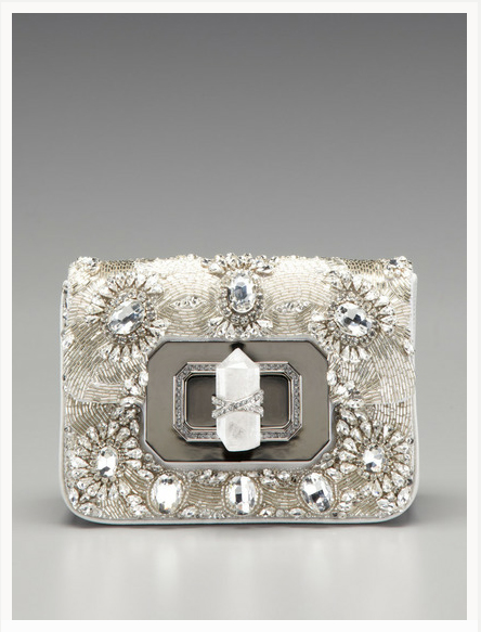 Marchesa Handbags Crystal-Embroidered Turn Lock Clutch