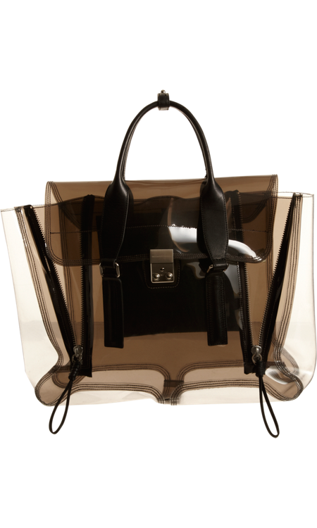 3.1 Phillip Lim Clear Pashli Satchel smoky black