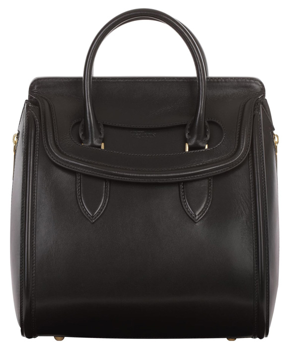 Alexander McQueen Black Calfskin Medium Heroine bag