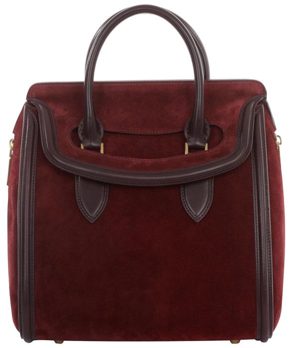 Alexander McQueen Oxblood Suede Medium Heroine bag