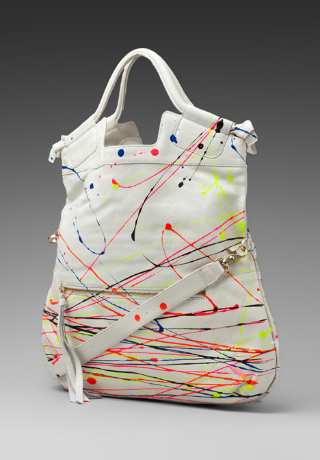 Revolve Clothing exclusive: Foley + Corinna Splatter Mid City Tote in White/Multi