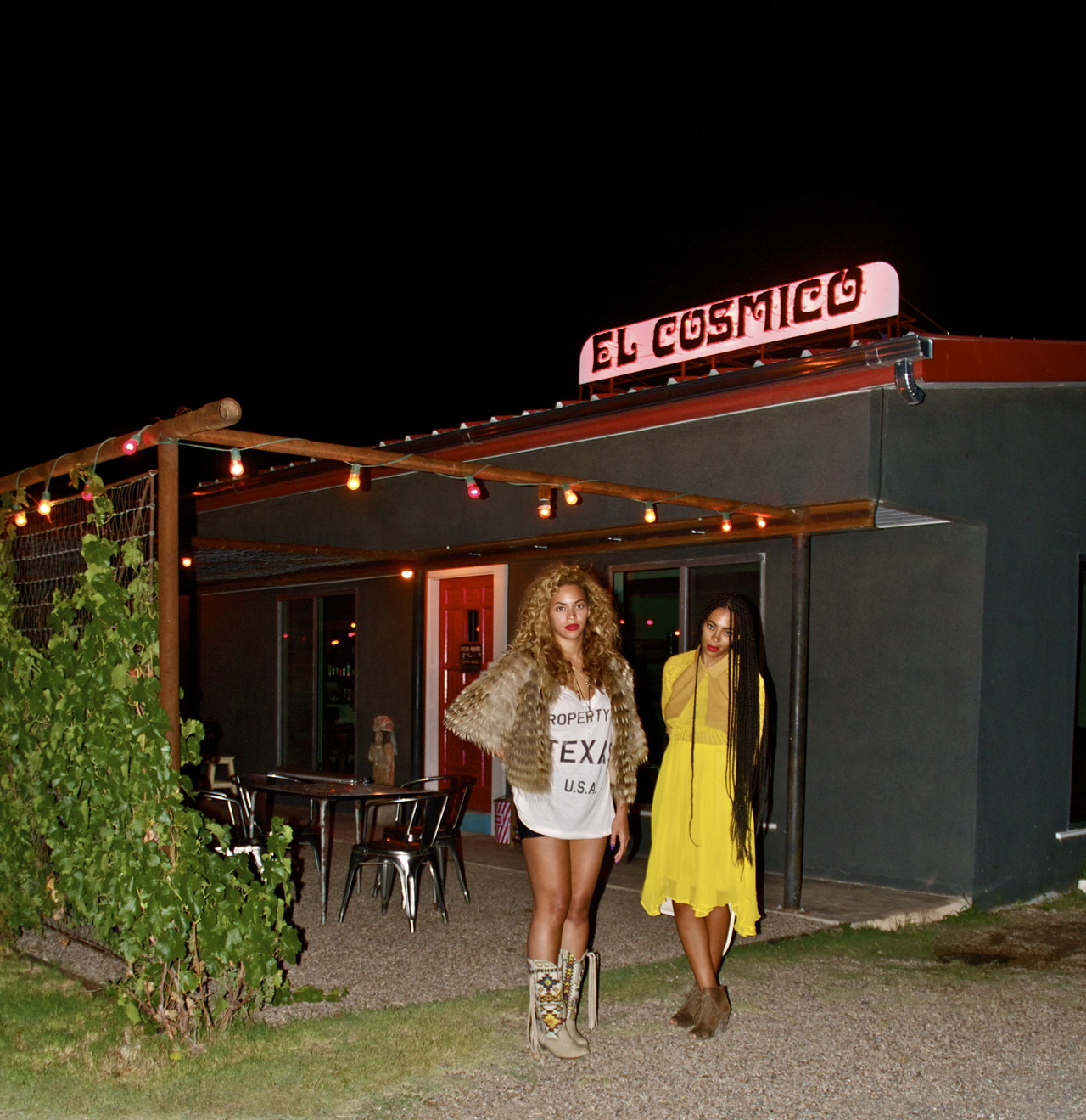 Beyonce and Solange in Texas in a Wildfox Couture Property of Texas T-shirt and Big Buddha Wayne Western boots