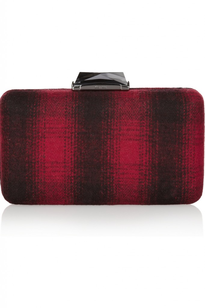 Kotur Espey plaid felt box clutch