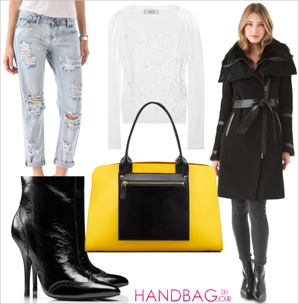 How To Wear It: Mackage Side Zip Coat with Tie, ONE by Awesome Distressed Jeans, Tory Burch Fable Bootie, Valentino Cutout patterned cotton sweater, Marni Colorblock Shopping Bag