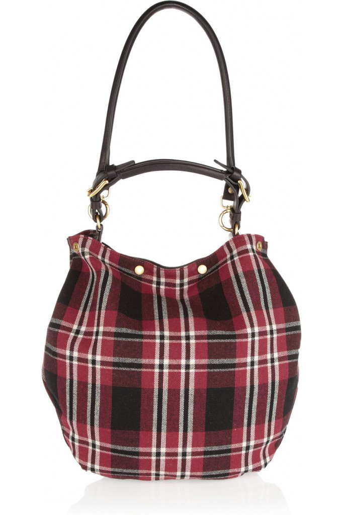 Marni Plaid wool and leather hobo bag