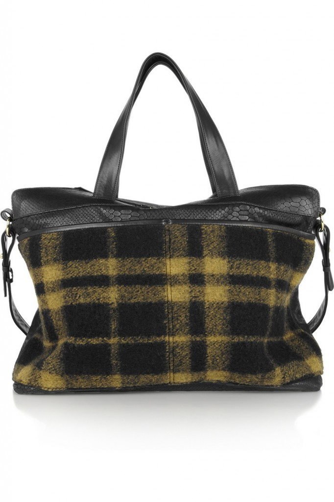 NewbarK Snake-stamped leather and plaid felt weekend bag