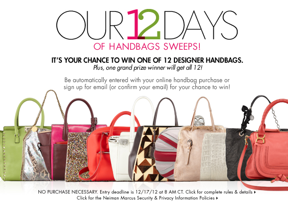 Neiman Marcus 12 days of handbags sweepstakes