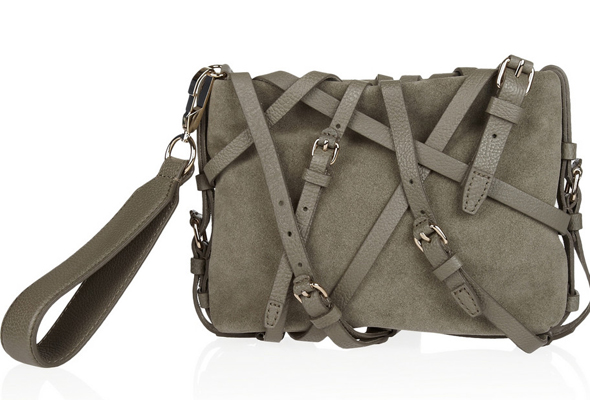 Alexander Wang Kirsten leather-strap suede clutch