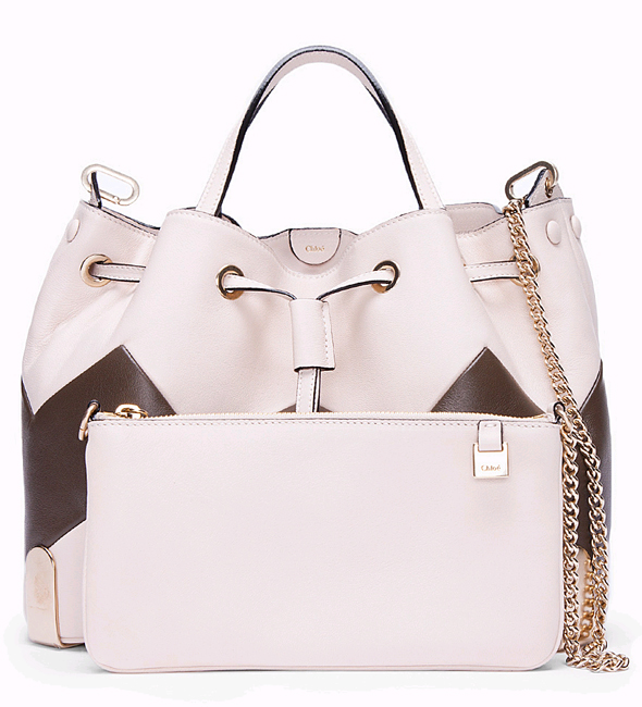 Chloe Ivory Charlie Zigzag Tote with clutch