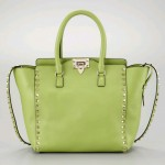 Valentino Rockstud Medium Tote Bag, Pop Apple