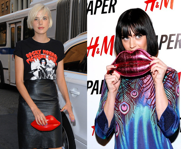 Agyness Deyn and Katy Perry with a Lulu Guinness Lips Clutch