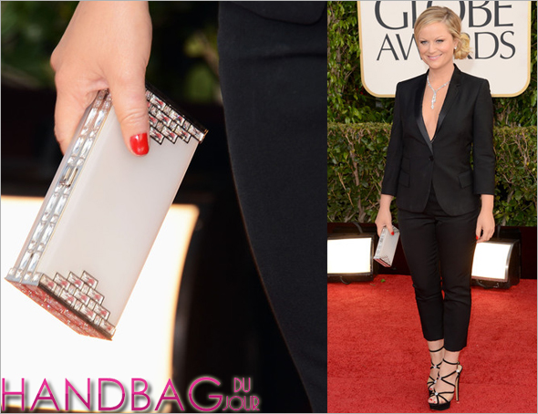 Amy Poehler in a Stella McCartney tux, Charlotte Olympia shoes and a Judith Leiber clutch at the 70th annual Golden Globe Awards 2013