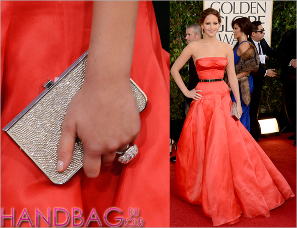 Jennifer Lawrence Ferragamo clutch 70th annual Golden Globe Awards 2013