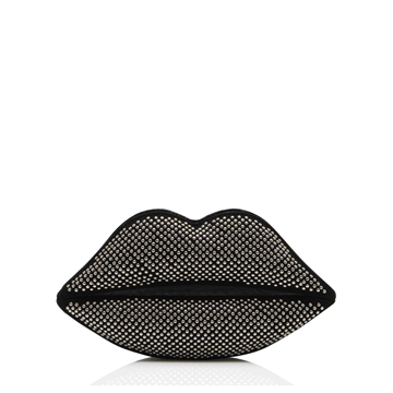 Lulu Guinness BLACK PINHEAD CLERKENWELL LIPS CLUTCH