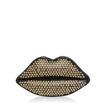 Lulu Guinness BLACK STUDDED SPARKLE LEATHER LIPS CLUTCH