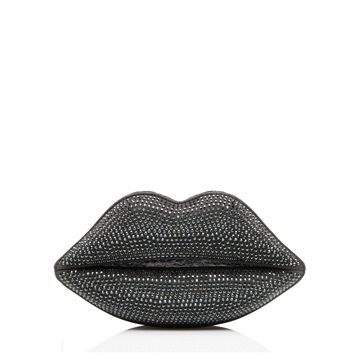Lulu Guinness GUNMETAL SWAROVSKI CRYSTALLIZED LIPS CLUTCH