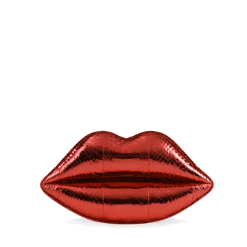 Lulu Guinness RED METALLIC SNAKESKIN LIPS CLUTCH