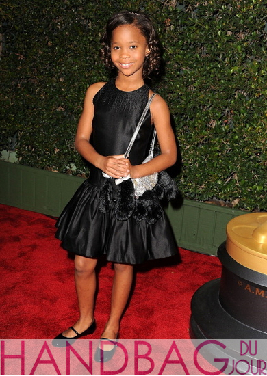Quvenzhané Wallis stuffed Poochie dog handbag - Academy of Motion Picture Arts and Sciences Fourth Annual Governors Awards