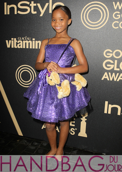Quvenzhané Wallis stuffed Poochie dog handbag - HFPA and InStyle Golden Globe party