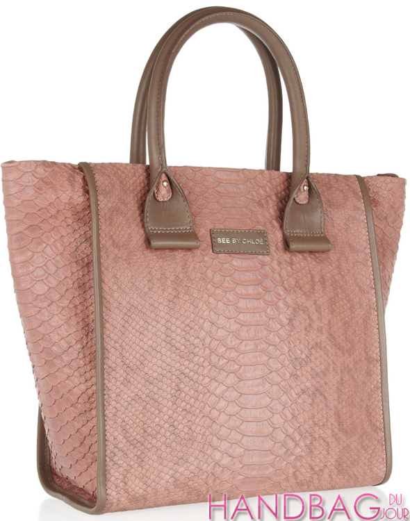 See by Chloé April snake-stamped leather trapeze tote