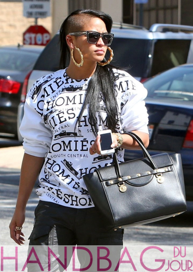 Cassie with Versace 'Classic' Leather Satchel