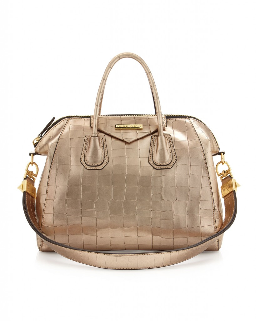 Charles Jourdan Aubrey Crocodile Embossed Metallic Leather Bag, Gold