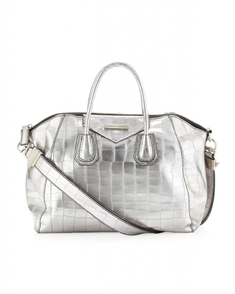 Charles Jourdan Aubrey Crocodile Embossed Metallic Leather Bag, Silver