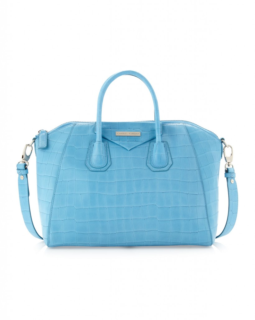 Charles Jourdan Aubrey Embossed Crocodile Tote, Blue