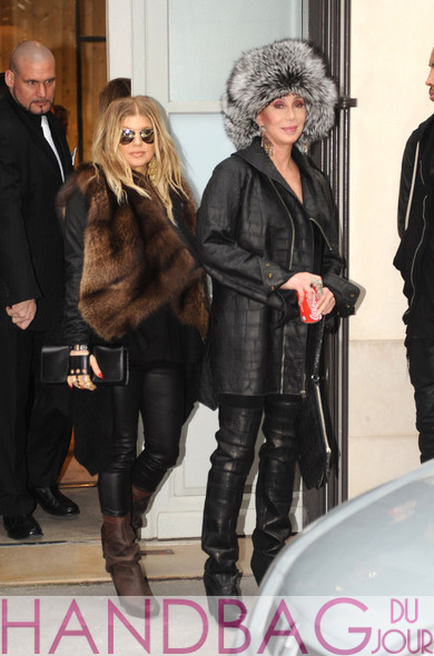 Cher and pregnant Fergie with 'Cabriolet' glove clutch by Perrin Paris shopping together