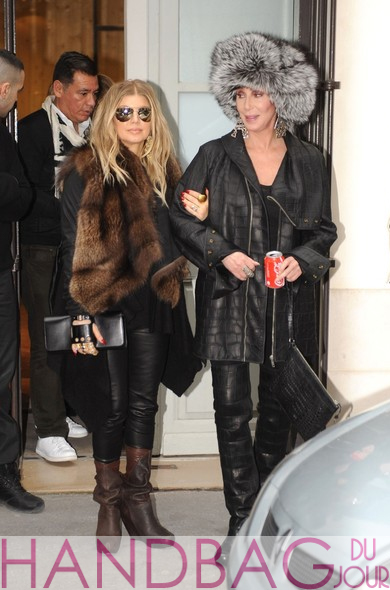 Cher-and-pregnant-Fergie-with-'Cabriolet'-glove-clutch-by-Perrin-Paris-shopping-together