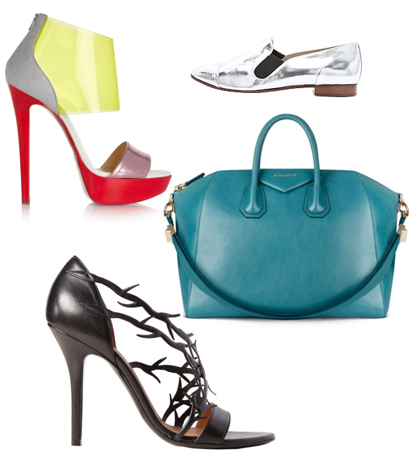 Balenciaga Spine (Thorn) Sandals, Christian Louboutin Metallic/Leather/PVC and Suede Sandals, Givenchy Antigona bag, Metallic flats