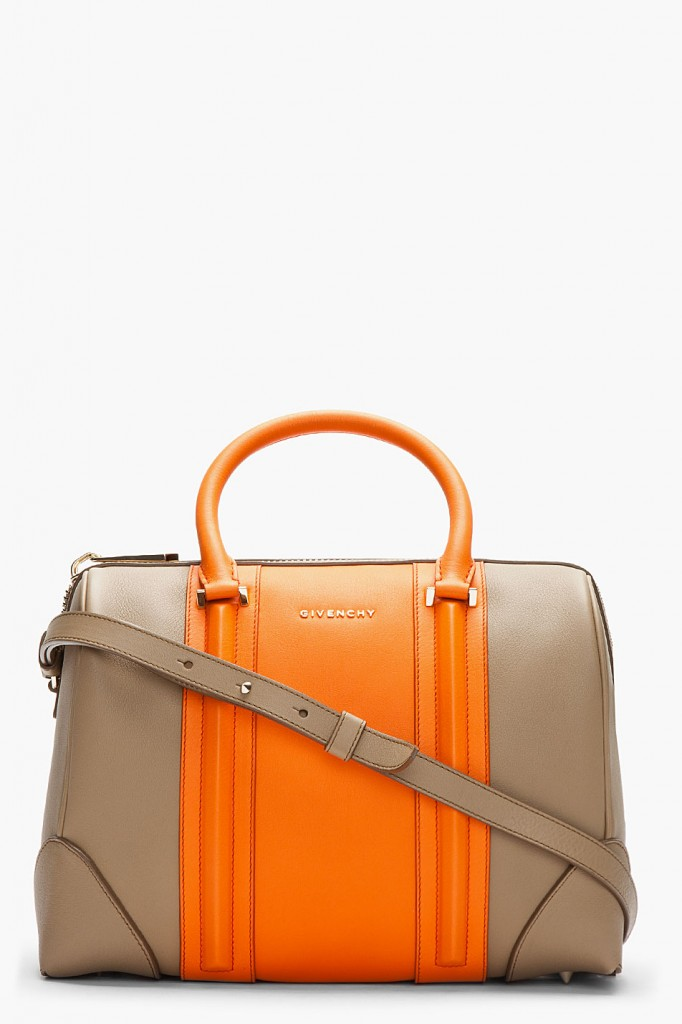 Givenchy orange colorblock duffle bag
