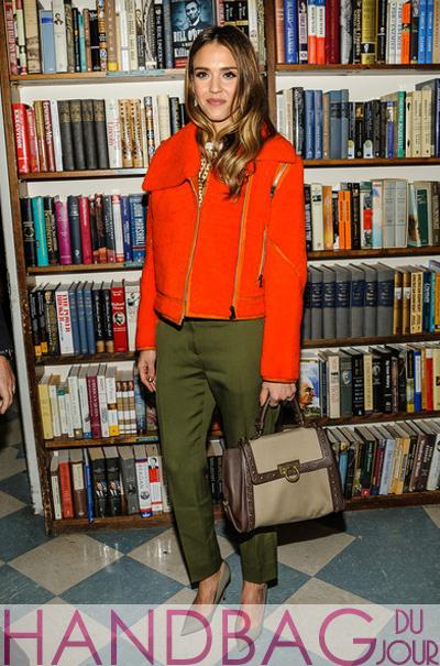 Jessica Alba with Salvatore Ferragamo Small Sofia Studded Leather & Canvas Bag