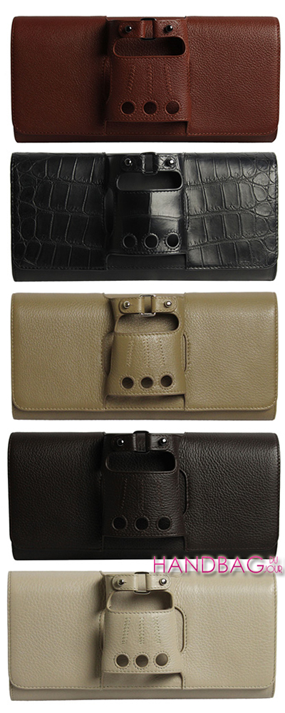 Perrin Paris Cabriolet glove clutches in deerskin and croc