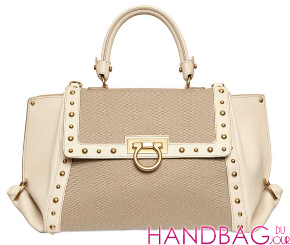 Salvatore Ferragamo Small Sofia Studded Leather & Canvas Bag