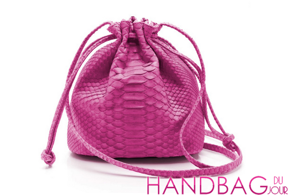 Hunting Season Pink Python Small Drawstring Sac
