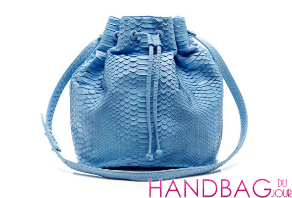 Hunting Season Sky Blue Blue Python Large Drawstring Bag