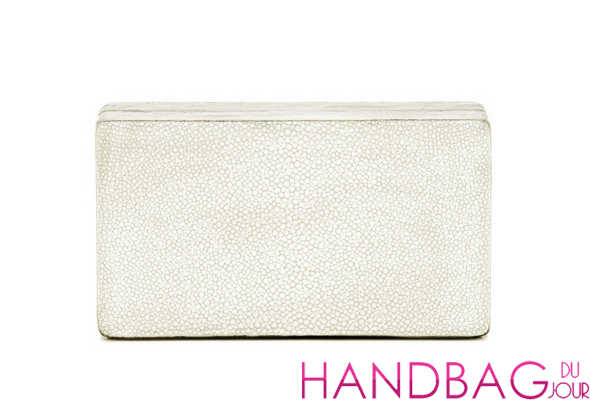 Hunting Season White Shagreen Box Clutch