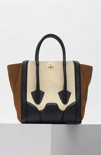 Pour la Victoire 'Butler - Large' Snake Embossed Leather & Suede Tote - black